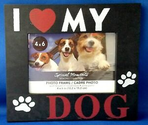 I LOVE MY DOG 4 x 6 Plastic Photo Picture Frame Special Moments Collection