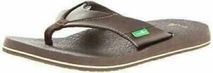 NEW Sanuk Men's Brown Beer Cozy Thong Flip Flop Beach Sandals Slippers 1174140