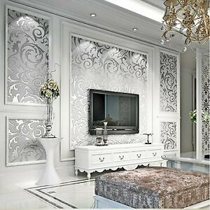 3D Silver Victorian Wall Sticker Damask Embossed Rolls Wallpaper