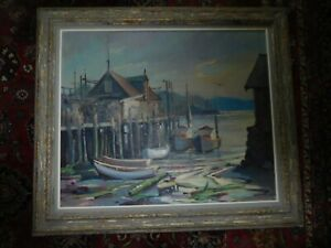 OIL PAINTING ON CANVAS SEASCAPE SIGNED STEVEN G MANIATTY LOW TIDE GLOUCESTER $3250.00