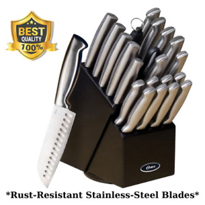 22-Piece Knife Set With Sharpening Steel, Rubberwood Block- Stainless-Steel