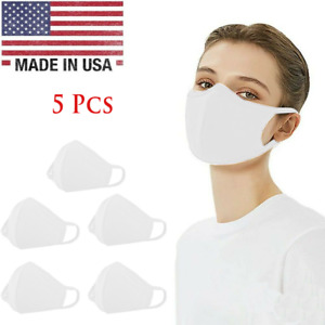 5Washable 100% Cotton Face Mask Reusable, White - 5 Pcs in 1 Pack, Made in USA