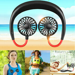 USA USB Rechargeable Neckband Lazy Neck Hanging Dual Cooling Portable Mini Fan