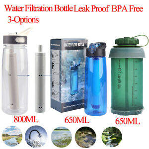 Filter Water Bottle 3-Stage 800/650ml Hiking,Camping,Travel,Backpacking BPA Free