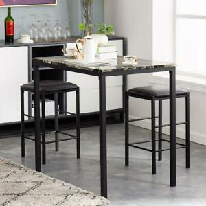 Hot 3 Piece Dining Table Set Counter Height Table 2 Chairs Kitchen Bar Stools US
