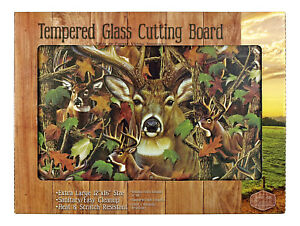 Cutting Board Tempered Glass Deer in Woodland Camo Extra Large: 16