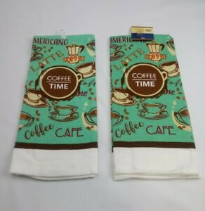 Set of 2 Kitchen Dish Hand Towels Brand New Coffee Cup Cafe Theme