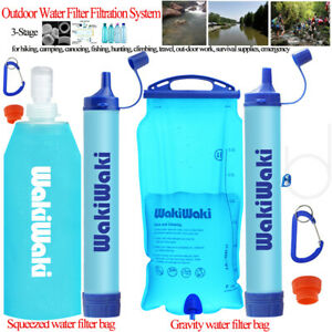 Gravity Water Filter Straw Ultralight Versatile Hiker Water Filter Emergency Kit