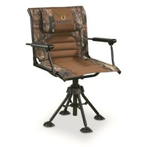 Outdoor Portable Hunting ROTATING SWIVEL SEAT BLIND CHAIR Camo Deer Hunt Game