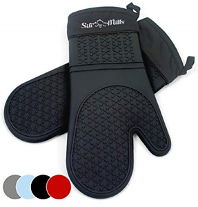 Black Silicone Oven Hot Mitts - 1 Pair of Extra Long Professional Heat Resistant
