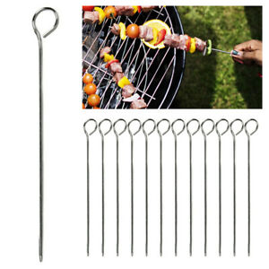 12 Barbecue Skewers Stainless Steel Metal BBQ Cooking Roasting Food Grill Sticks