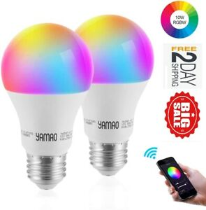 2 Pack Smart WiFi Light Bulb  Color Changing 5000K, A19 E26 Dimmable 10W, 85W