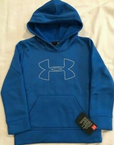 Under Armour Boys Youth Big Logo Pullover Poly Hoodie Blue Size 5 NWT 1030 $18.99