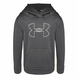 NWT Under Armour Boys Youth Big Logo Hoodie Size 5 Graphite Gray 1030 $16.99