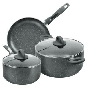 FGY 5PCS Non-stick Stone-Derived Ceramic Coating Pots and Pans Cookware Set
