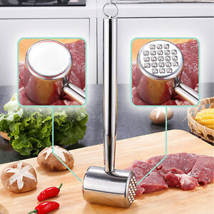 Dual-Sided Meat Tenderizer Mallet Hammer Stainless Steel Pounder Kitchen Tool