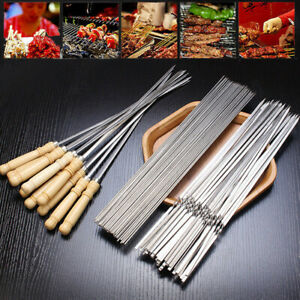 5/10× Stainless Steel 33cm Barbecue BBQ Tools Skewers Needle Kebab Kabob Stick