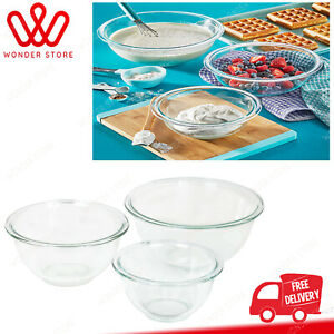 Pyrex Glass Mixing Bowl Set 3-Piece Set, Nesting, Microwave and Dishwasher Safe