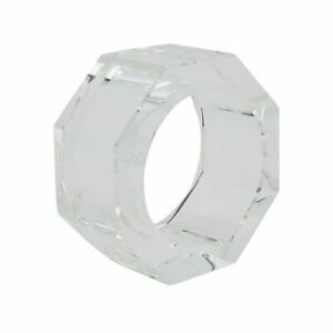Glass Crystal Octagonal Facet Napkin Ring - set of 4 pcs Clear