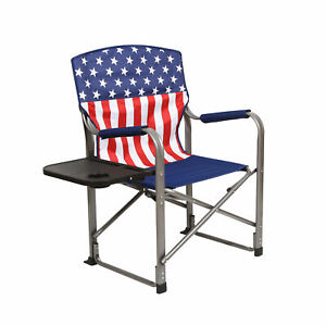 Kamp-Rite Outdoor Tailgating Folding Directors Chair with Side Table USA Flag