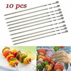 10Pcs Stainless Steel BBQ Kebab Flat Skewers Barbecue Cook Needle Fork