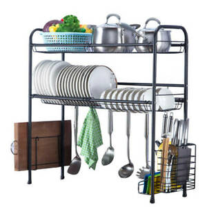 Over The Sink Dish Drying Rack,2-Tier Dish Drainers for Kitchen Stainless Steel