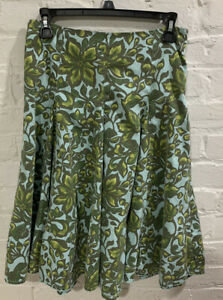 MERONA FLORAL AND LEAF PRINTED GREEN AND BLUE DROP WAIST MIDI SKIRT SIZE 2
