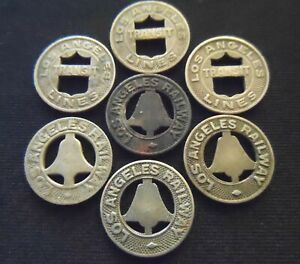Lot of 7 Vintage Los Angeles California Transit Tokens