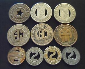 Lot of 10 Vintage Southern California Transit Tokens San Diego, Pasadena, etc
