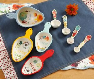 NWT The PIONEER WOMAN Willow Measuring Cups Spoons 8 pc Set Baking Kitchen GIFT