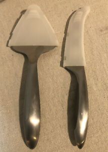Pampered Chef Cheese Knife Bistro Set Stainless Steel with Protective Sleeves