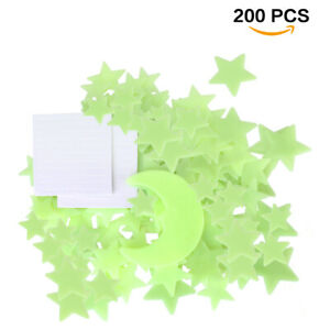 200Stars Glow In The Dark 1 Moon Luminous Fluorescent Wall Stickers Decors Gift