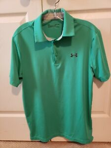 Men's Under Armour Heat Gear Loose Green Polo Size Small S $13.50