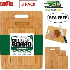 Cutting Boards for Kitchen [Bamboo, Set of 3] Eco-Friendly Wood Cutting Board