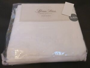 Sferra 4P Sateen Queen Long Staple Cotton Sheet Set Italian 300tc Pure White