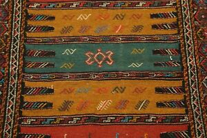 Vegetable Dye Tribal Kilim Sumak Kashkuli Hand-Woven Area Rug Nomad Woven 4x6 ft