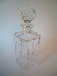 ATLANTIS CRYSTAL SQUARE DECANTER WITH STOPPER 10 1/4