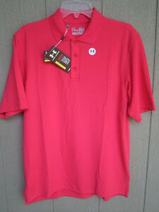 NEW PINK UNDER ARMOUR POLO GOLF SHIRT SIZE SMALL LOOSE FIT HEAT GEAR $19.99