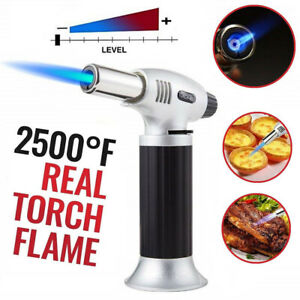 Cooking Blow Torch Refillable Butane Kitchen BBQ Food Safety Adjustable Flame