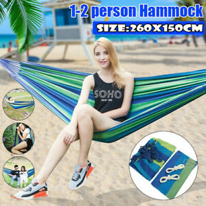 2 Person Portable Hammock Camping Hanging Hammock Swing Canvas Bed Outdoor G3