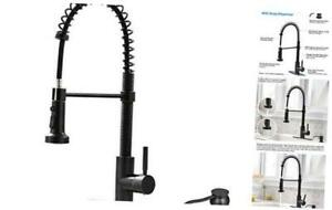 Bokaiya Kitchen Faucet with Pull Down Sprayer and Soap Dispenser-High Arc Single