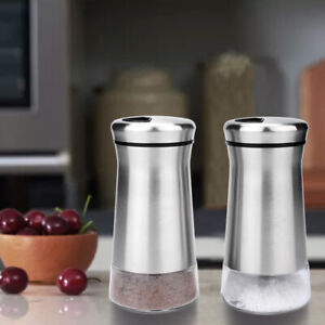 2x Stainless Steel Salt and Pepper Shakers Adjustable Pour Holes Seasoning Can