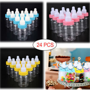 24 x Fillable Baby Bottles Shower Favors Party Birthday Decor Yellow Pink Blue