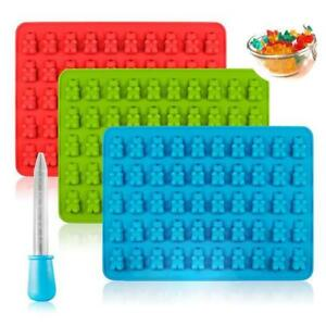 50 Cavity Silicone Gummy Bear Chocolate Mold Candy Maker Ice Tray Jelly Mould #