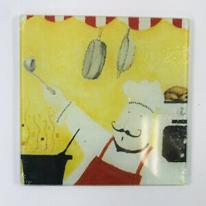 Cooking Concept Kitchen Chef Square Cutting Trivet Board Tempd Glass 7.75x7.75quot; $3.99