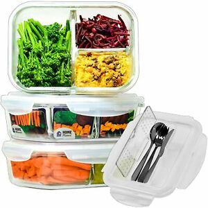 Glass Meal Prep Containers 3 Compartment with Cutlery Set Glass Lunchbox ... $25.99
