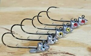 5 Pack Unpainted Swimbait Jig Heads with 3D Eyes 1 4 to 1 1 2oz