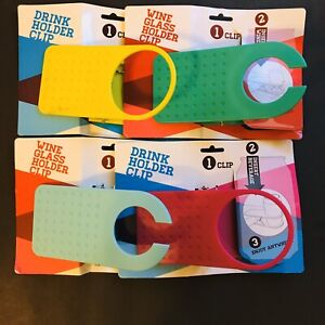 2 New Wine Glass & 2 New Drink Holder Clips Great Summer Colors