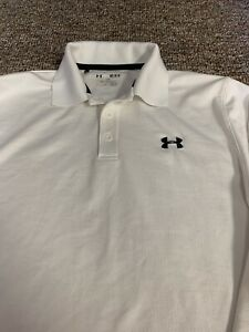 Under Armour Mens Medium Long Sleeve Polo Loose Fit Athletic Shirt White $25.00