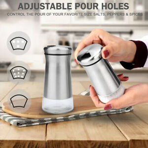 Set of 2 Stainless Steel Salt &Pepper Rotating Shakers w/ Adjustable Pour Holes